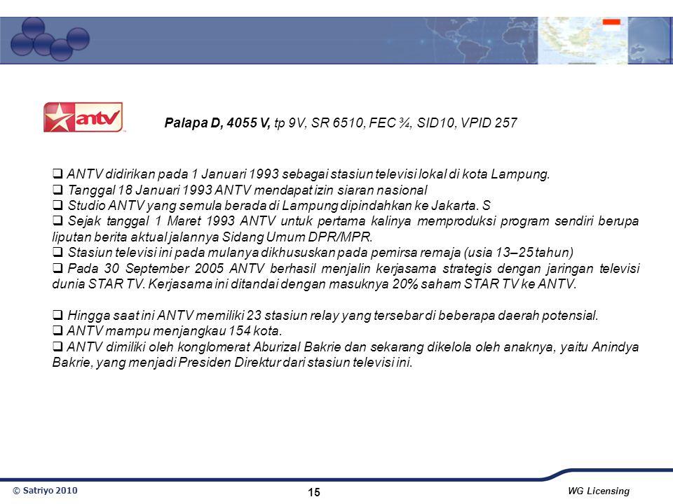 Palapa D, 4055 V, tp 9V, SR 6510, FEC ¾, SID10, VPID 257