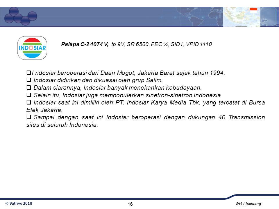 I ndosiar beroperasi dari Daan Mogot, Jakarta Barat sejak tahun 1994.