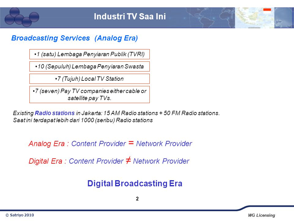 Broadcasting Services (Analog Era) Digital Broadcasting Era