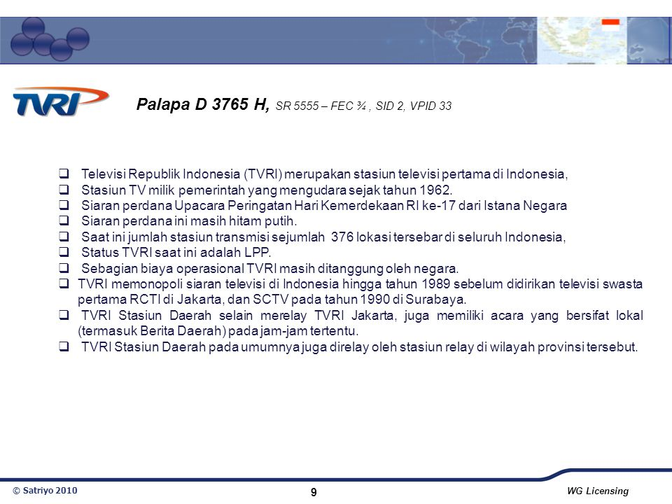 Palapa D 3765 H, SR 5555 – FEC ¾ , SID 2, VPID 33