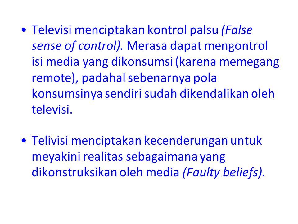 Televisi menciptakan kontrol palsu (False sense of control)
