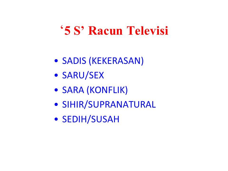 '5 S' Racun Televisi SADIS (KEKERASAN) SARU/SEX SARA (KONFLIK)