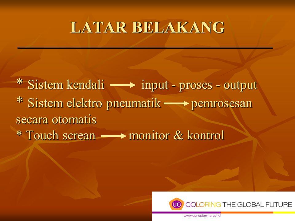 LATAR BELAKANG. Sistem kendali input - proses - output
