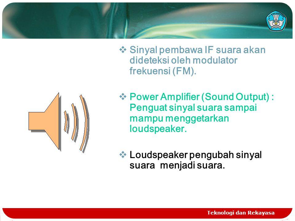 Sinyal pembawa IF suara akan dideteksi oleh modulator frekuensi (FM).