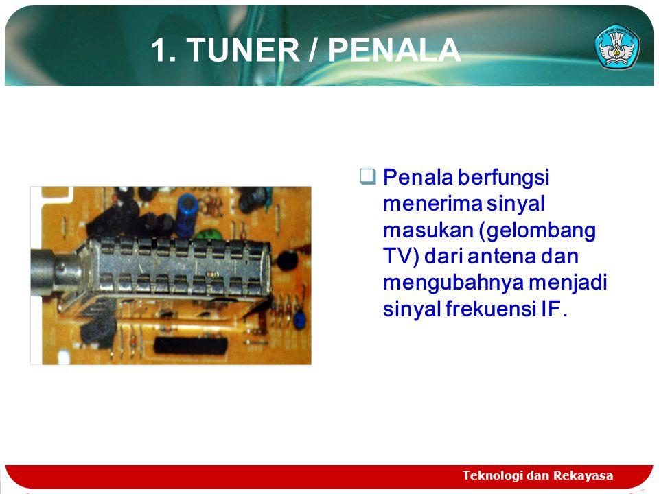1. TUNER / PENALA Penala berfungsi menerima sinyal masukan (gelombang TV) dari antena dan mengubahnya menjadi sinyal frekuensi IF.