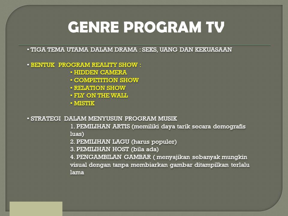GENRE PROGRAM TV TIGA TEMA UTAMA DALAM DRAMA : SEKS, UANG DAN KEKUASAAN. BENTUK PROGRAM REALITY SHOW :