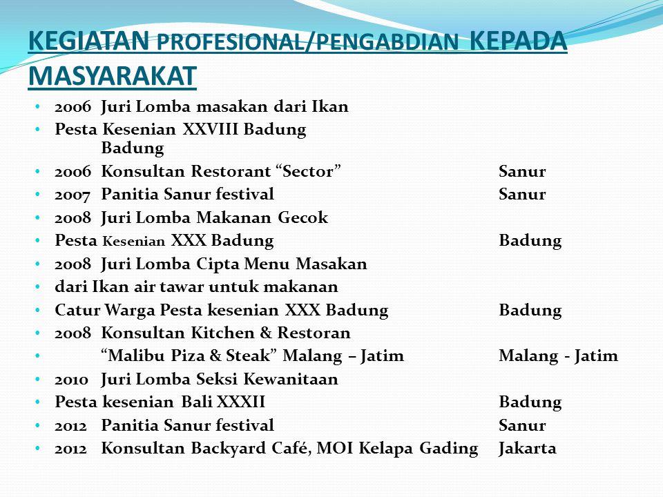 KEGIATAN PROFESIONAL/PENGABDIAN KEPADA MASYARAKAT