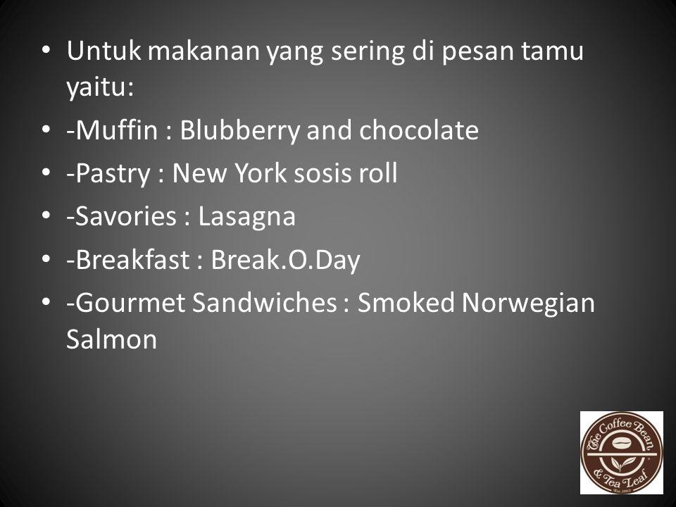 Untuk makanan yang sering di pesan tamu yaitu: