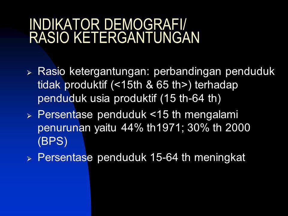 INDIKATOR DEMOGRAFI/ RASIO KETERGANTUNGAN