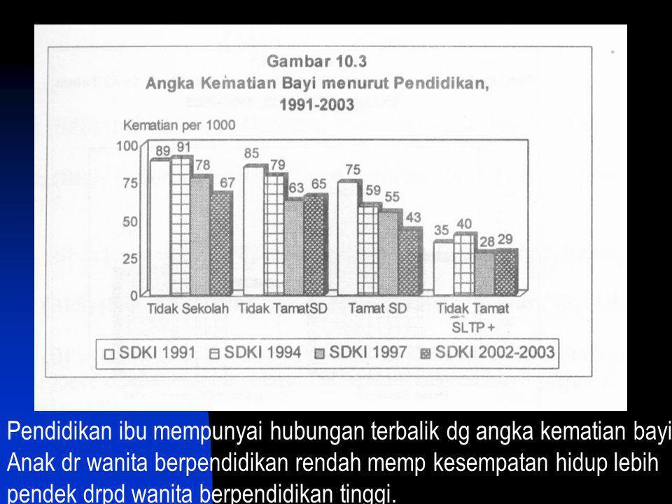 Pendidikan ibu mempunyai hubungan terbalik dg angka kematian bayi;