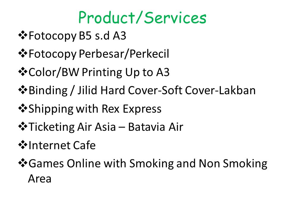 Product/Services Fotocopy B5 s.d A3 Fotocopy Perbesar/Perkecil