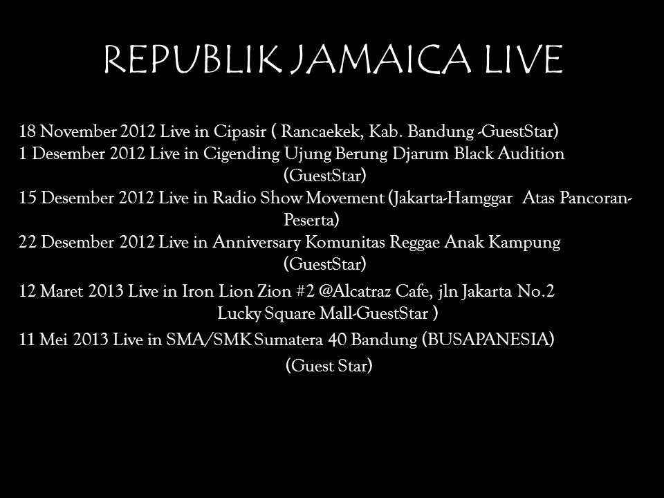 REPUBLIK JAMAICA LIVE