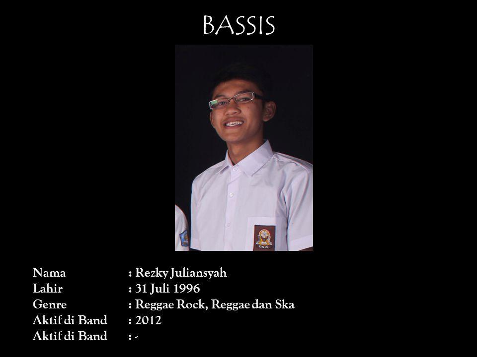 BASSIS Nama : Rezky Juliansyah Lahir : 31 Juli 1996