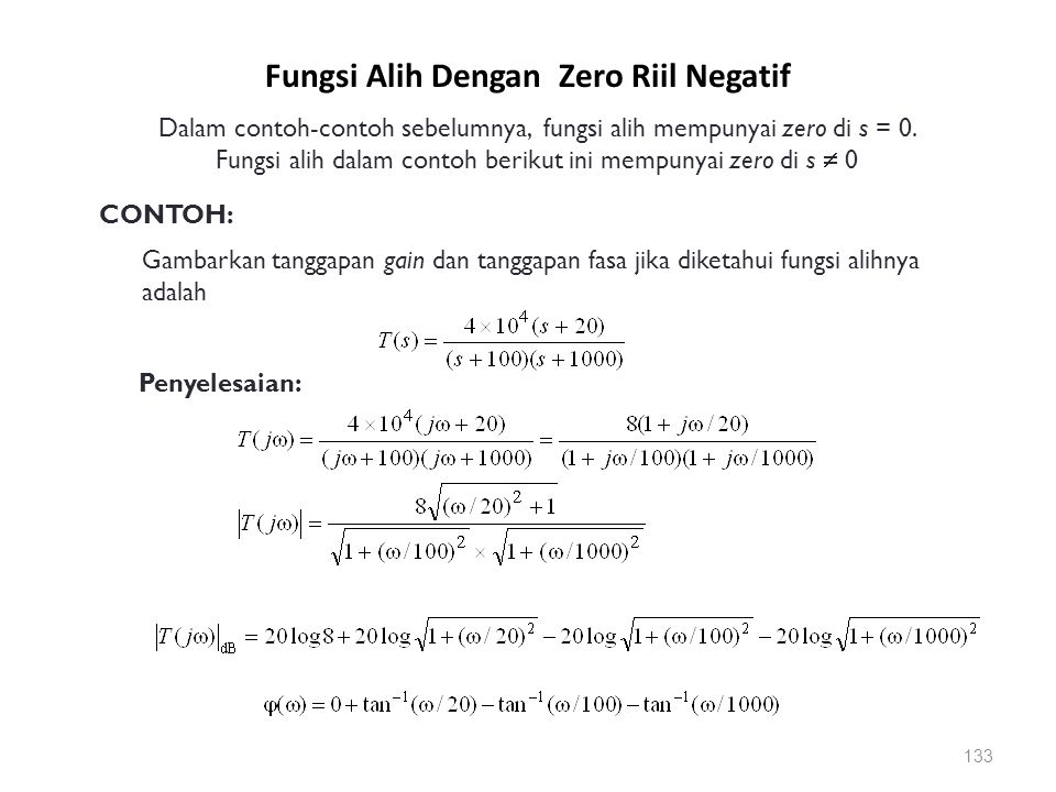 Fungsi Alih Dengan Zero Riil Negatif