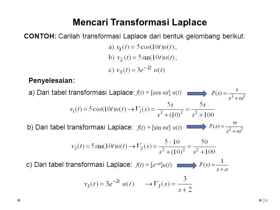 Mencari Transformasi Laplace