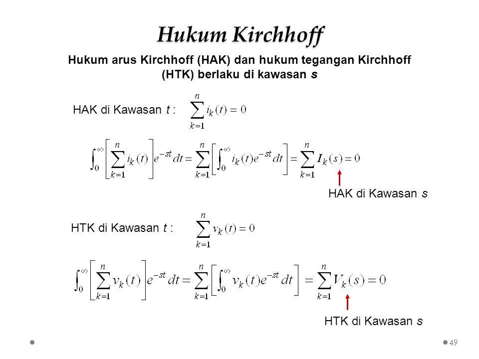 Hukum Kirchhoff Hukum arus Kirchhoff (HAK) dan hukum tegangan Kirchhoff (HTK) berlaku di kawasan s.
