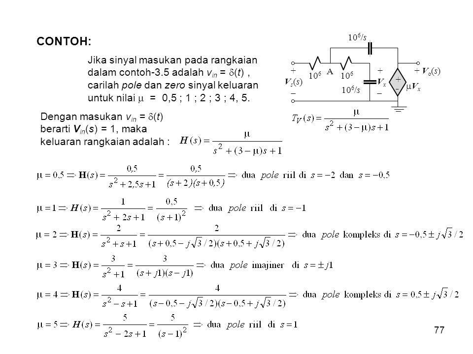 CONTOH: 106. 106/s. Vx. A. + Vx.  + Vo(s) Vs(s)