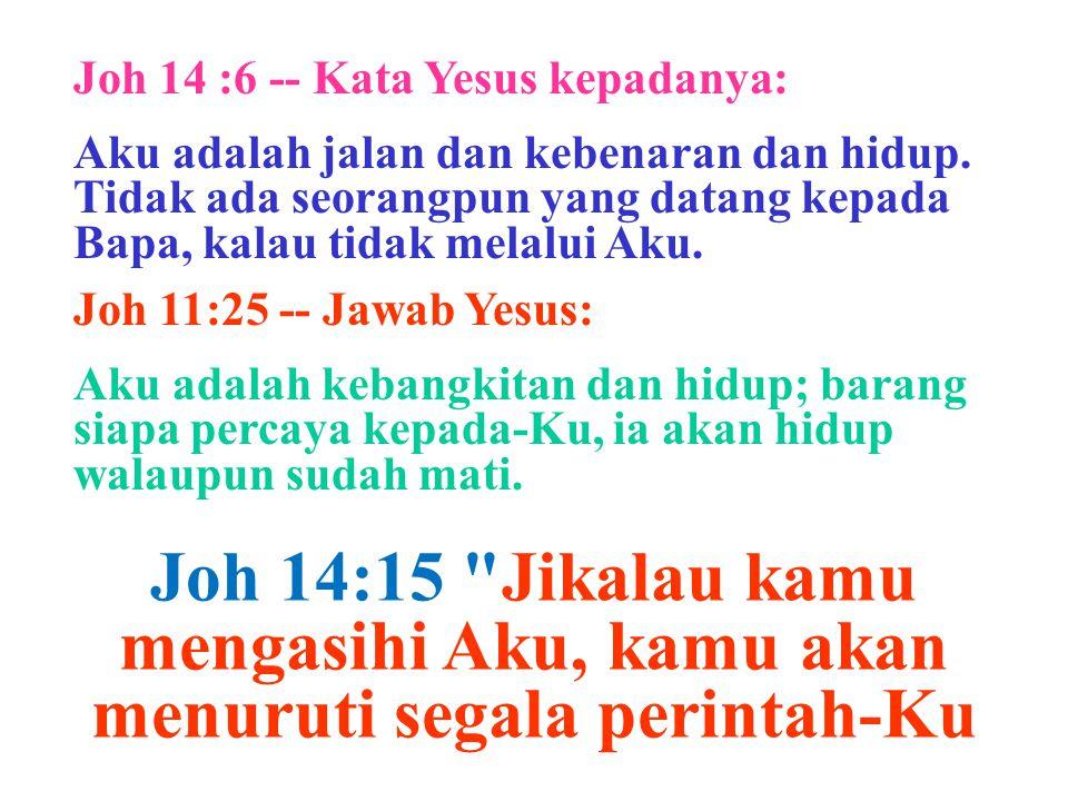 Joh 14 :6 -- Kata Yesus kepadanya: