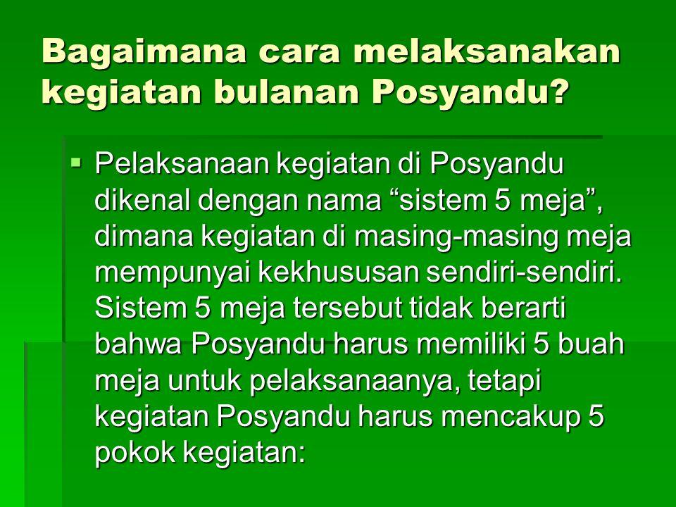 Bagaimana cara melaksanakan kegiatan bulanan Posyandu
