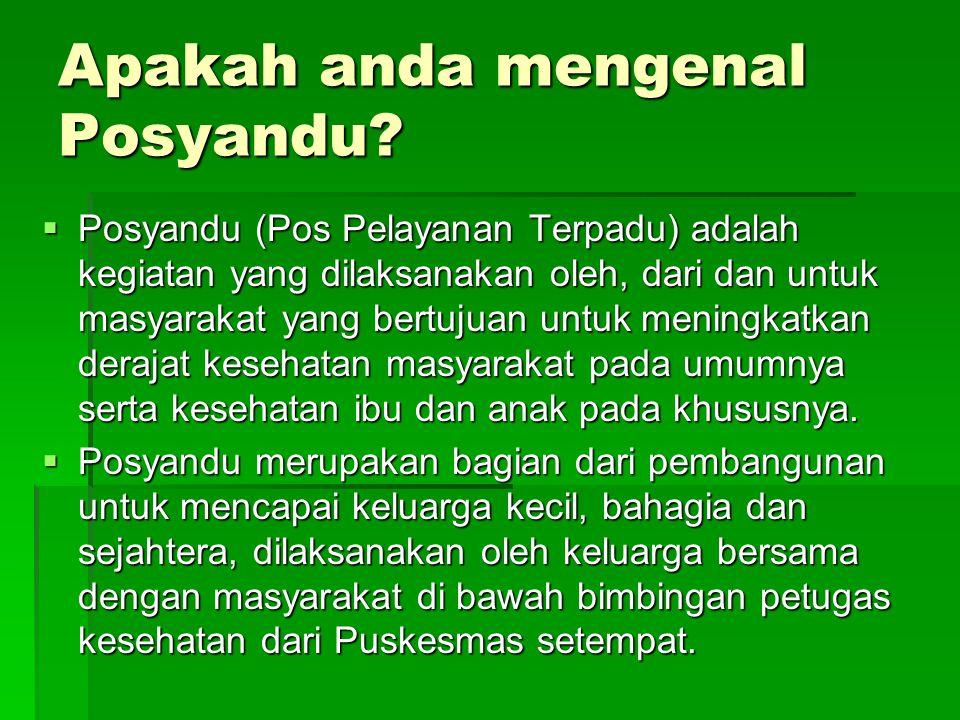 Apakah anda mengenal Posyandu