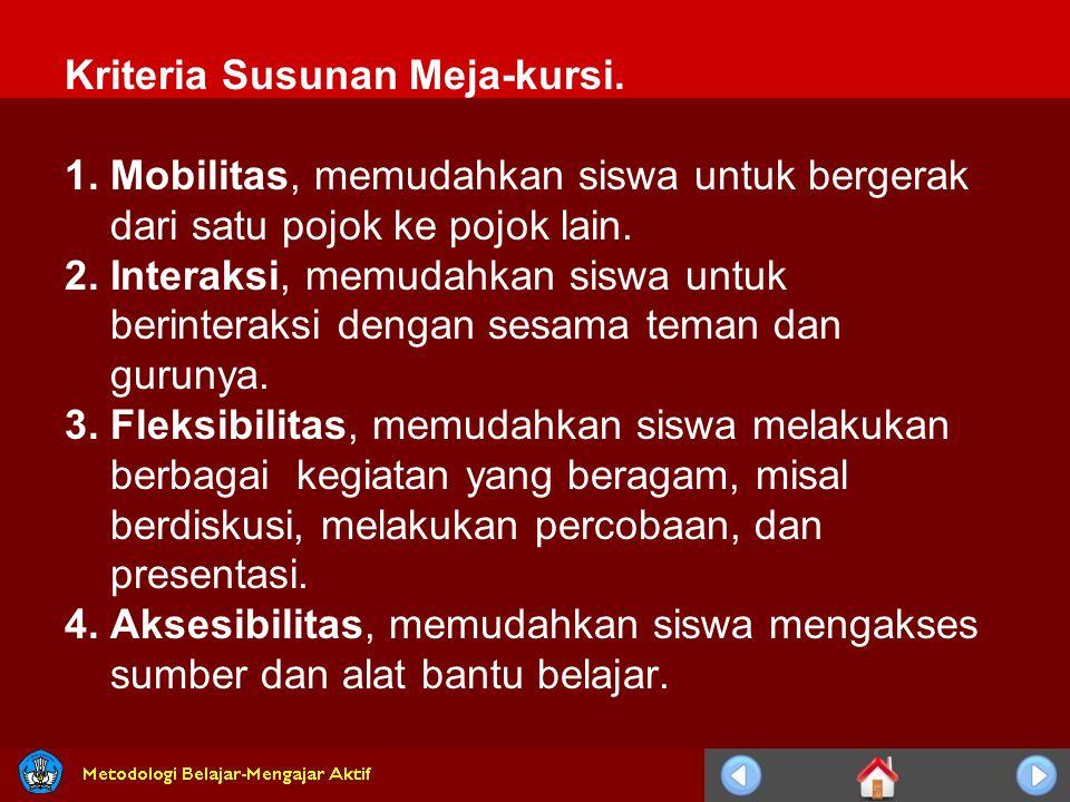 Kriteria Susunan Meja-kursi.