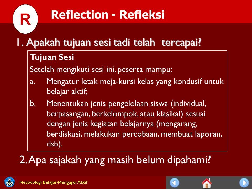 R Reflection - Refleksi 1. Apakah tujuan sesi tadi telah tercapai