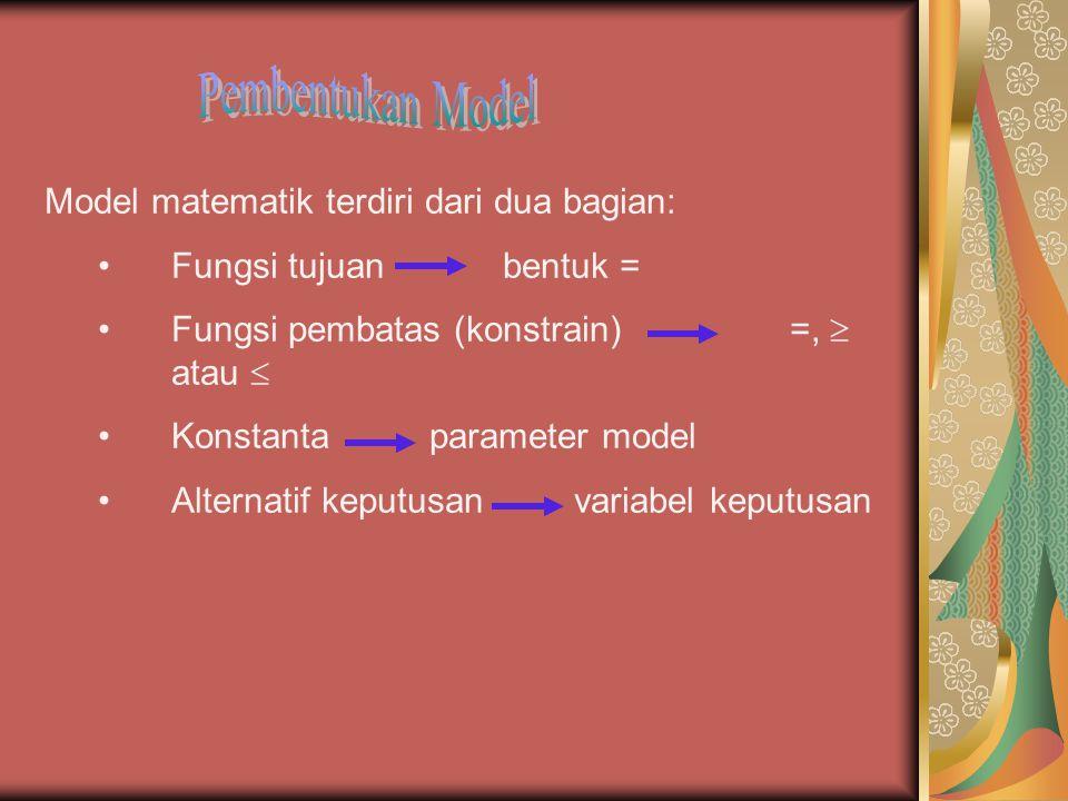 Pembentukan Model Model matematik terdiri dari dua bagian: