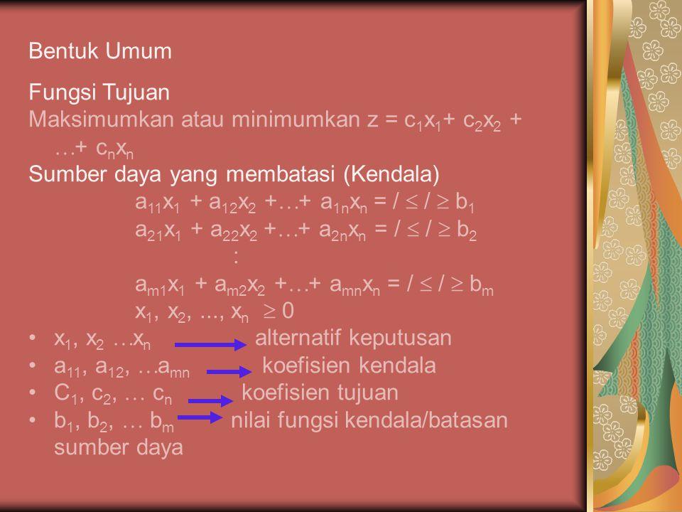 Bentuk Umum Fungsi Tujuan. Maksimumkan atau minimumkan z = c1x1+ c2x2 + + cnxn. Sumber daya yang membatasi (Kendala)