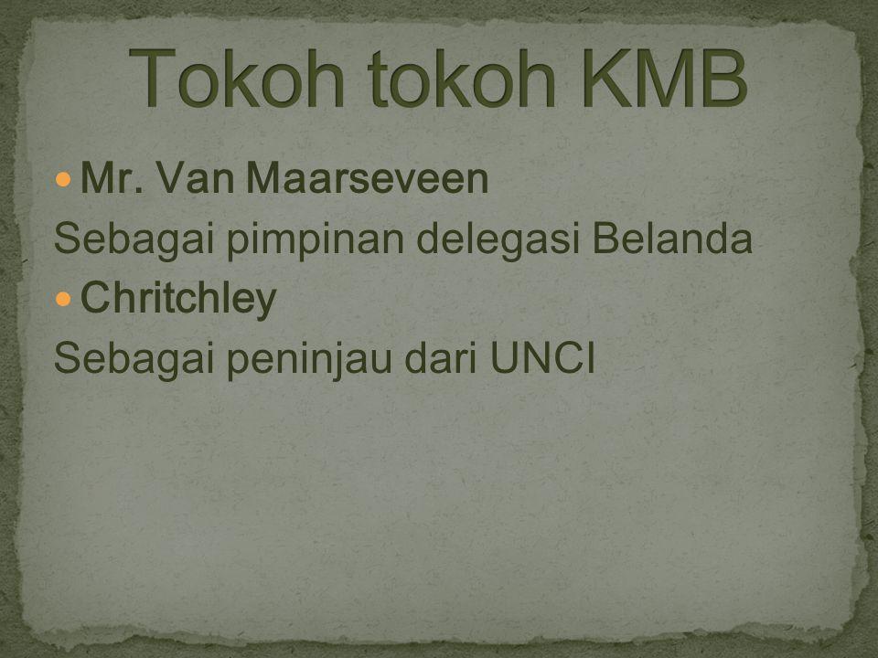 Tokoh tokoh KMB Mr. Van Maarseveen Sebagai pimpinan delegasi Belanda