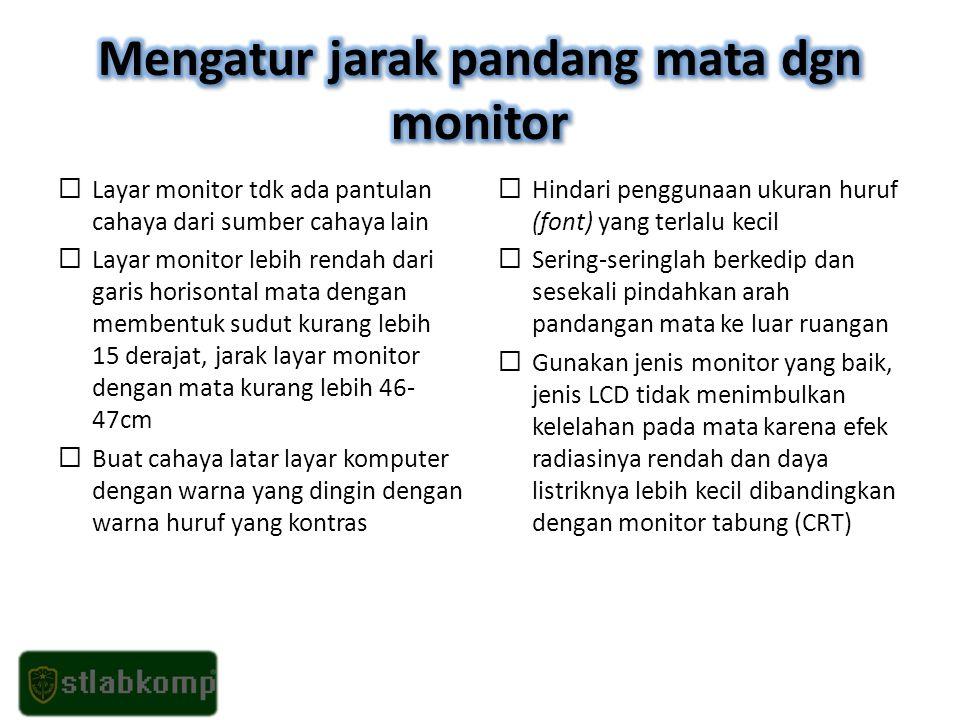 Mengatur jarak pandang mata dgn monitor