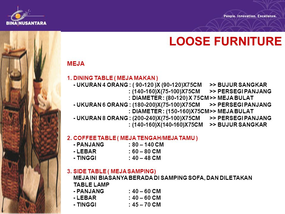 LOOSE FURNITURE MEJA 1. DINING TABLE ( MEJA MAKAN )