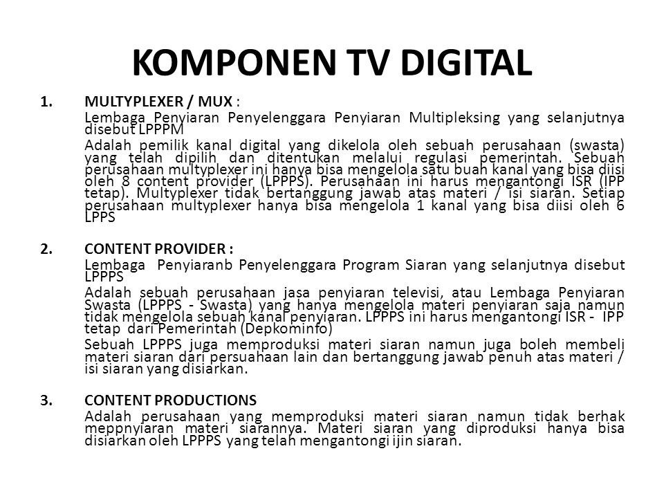 KOMPONEN TV DIGITAL MULTYPLEXER / MUX :
