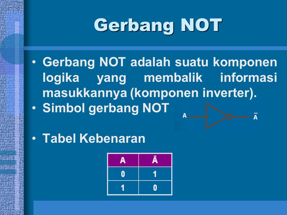 Gerbang NOT Gerbang NOT adalah suatu komponen logika yang membalik informasi masukkannya (komponen inverter).