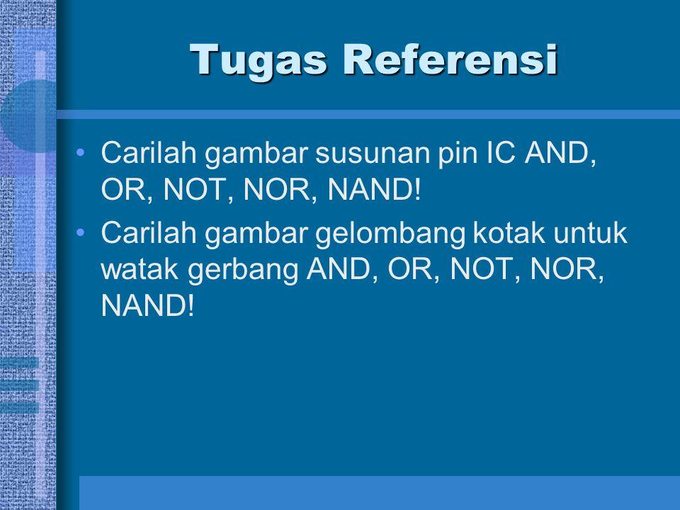 Tugas Referensi Carilah gambar susunan pin IC AND, OR, NOT, NOR, NAND!
