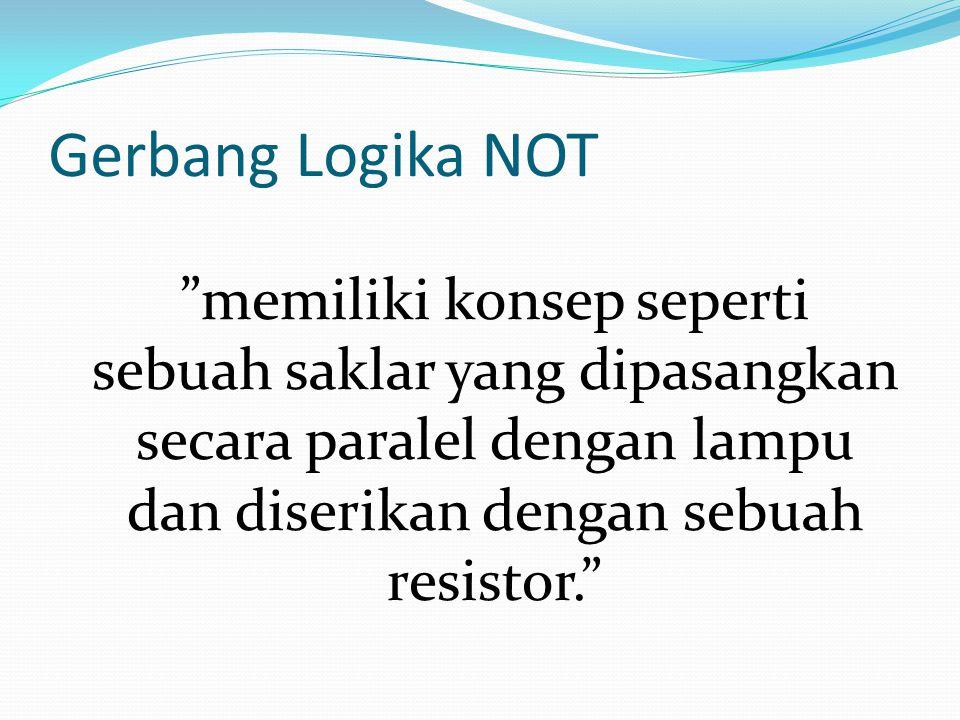 Gerbang Logika NOT memiliki konsep seperti sebuah saklar yang dipasangkan secara paralel dengan lampu dan diserikan dengan sebuah resistor.