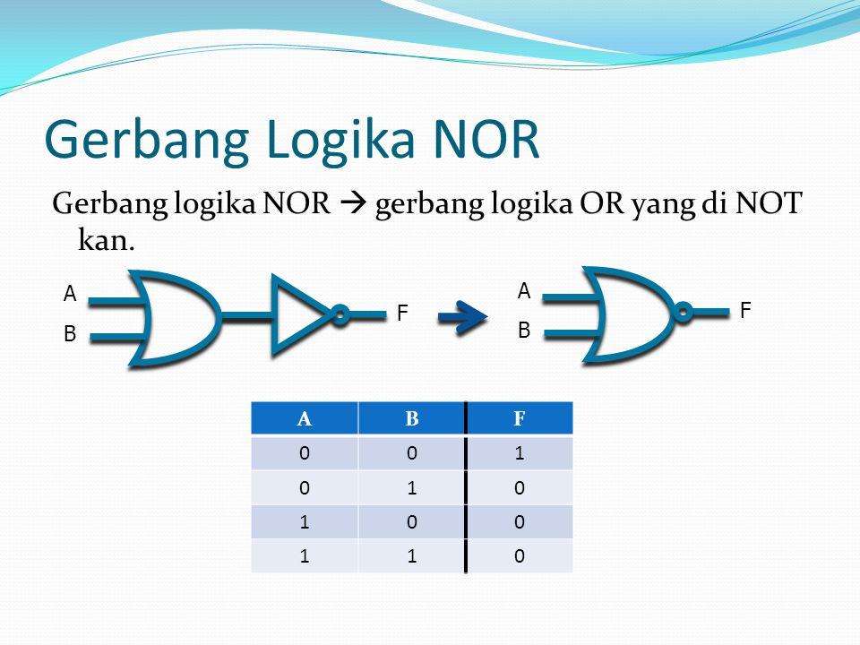Gerbang Logika NOR Gerbang logika NOR  gerbang logika OR yang di NOT kan. F A B A B F A B F 1