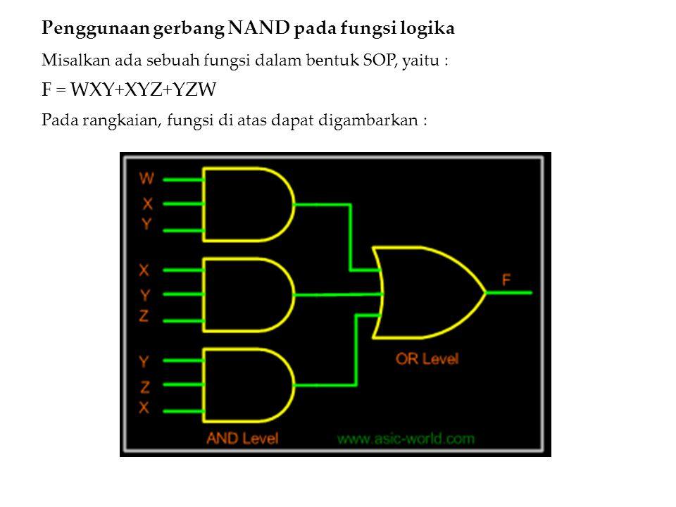 Penggunaan gerbang NAND pada fungsi logika