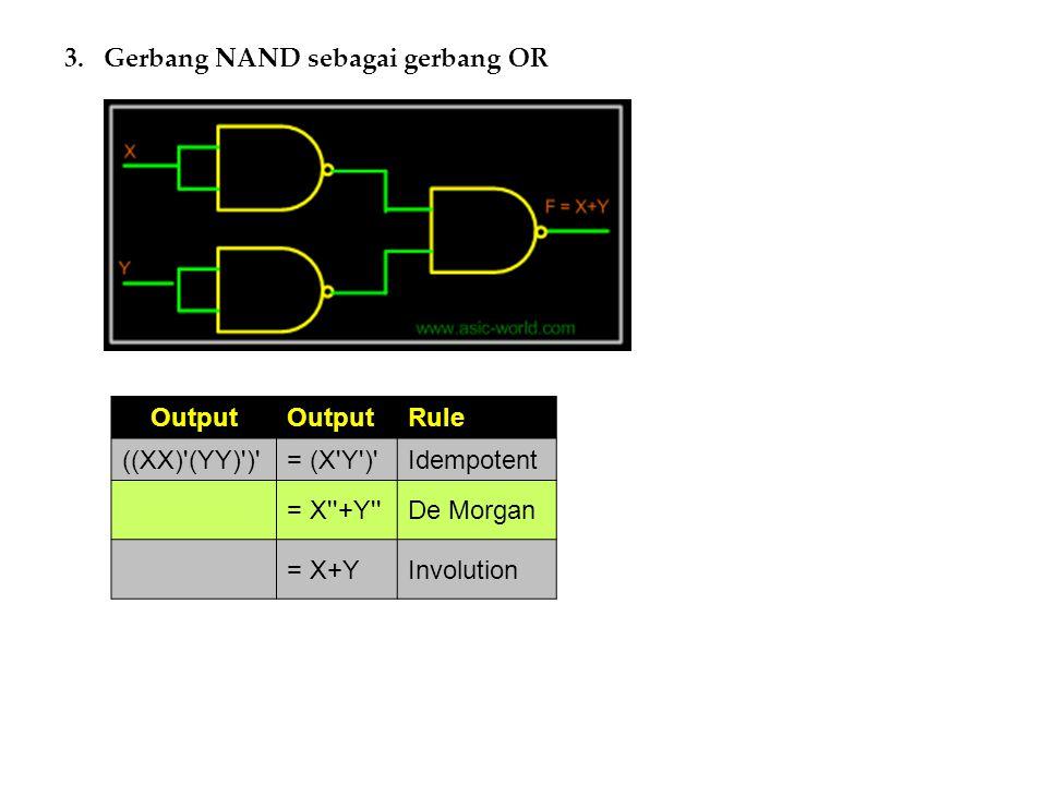 Gerbang NAND sebagai gerbang OR
