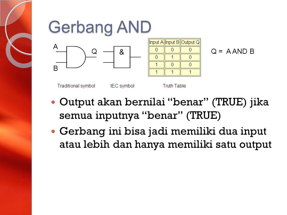 Gerbang AND A. Q. Q = A AND B. B. Output akan bernilai benar (TRUE) jika semua inputnya benar (TRUE)