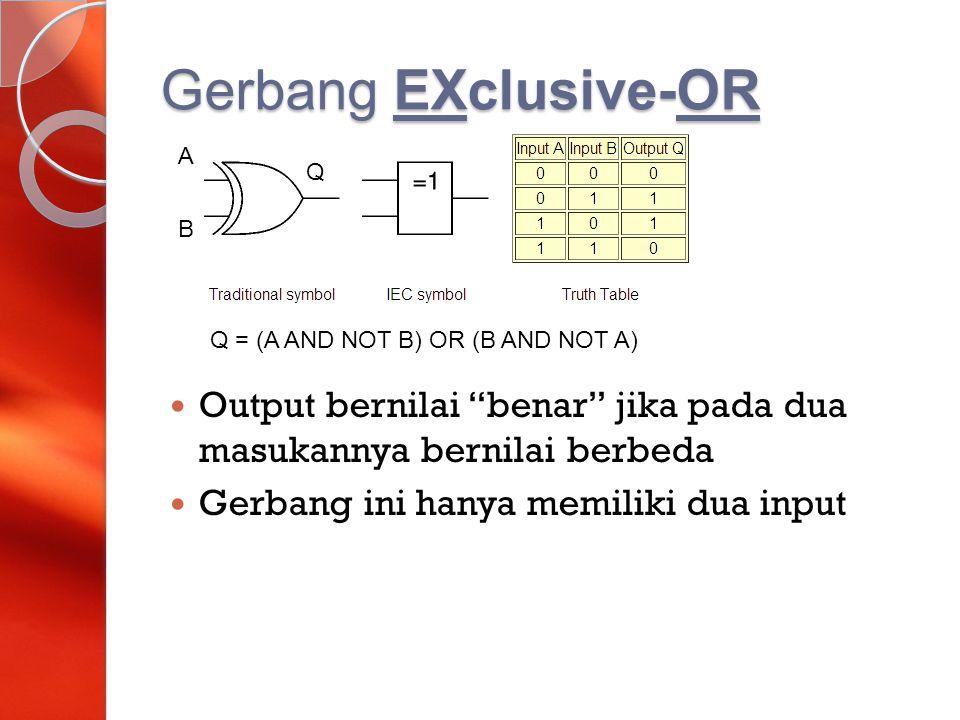 Gerbang EXclusive-OR A. Q. B. Q = (A AND NOT B) OR (B AND NOT A) Output bernilai benar jika pada dua masukannya bernilai berbeda.
