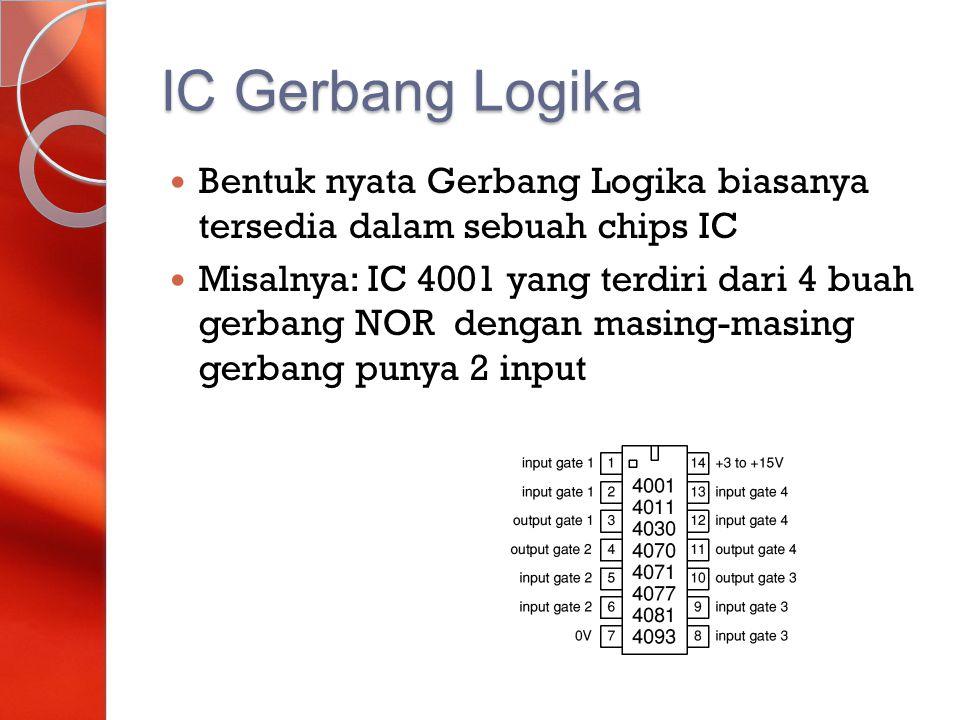IC Gerbang Logika Bentuk nyata Gerbang Logika biasanya tersedia dalam sebuah chips IC.
