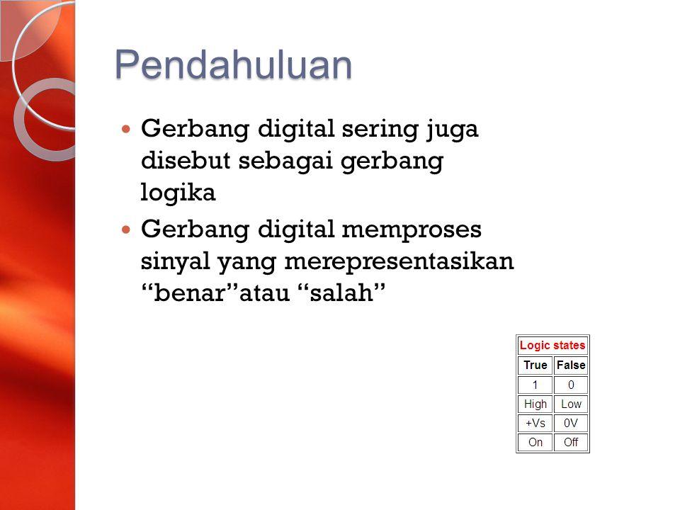 Pendahuluan Gerbang digital sering juga disebut sebagai gerbang logika