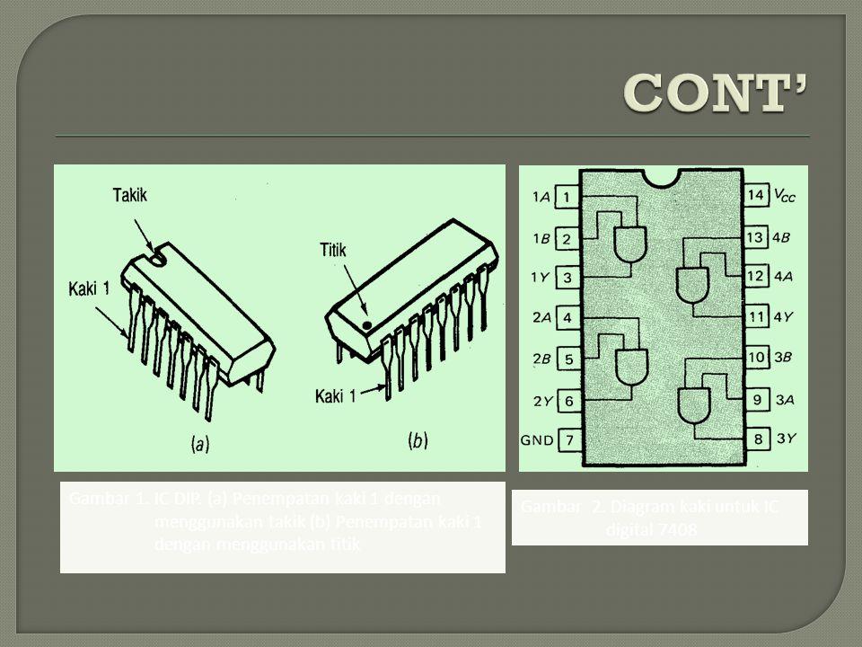 CONT' Gambar 1. IC DIP. (a) Penempatan kaki 1 dengan menggunakan takik (b) Penempatan kaki 1 dengan menggunakan titik.
