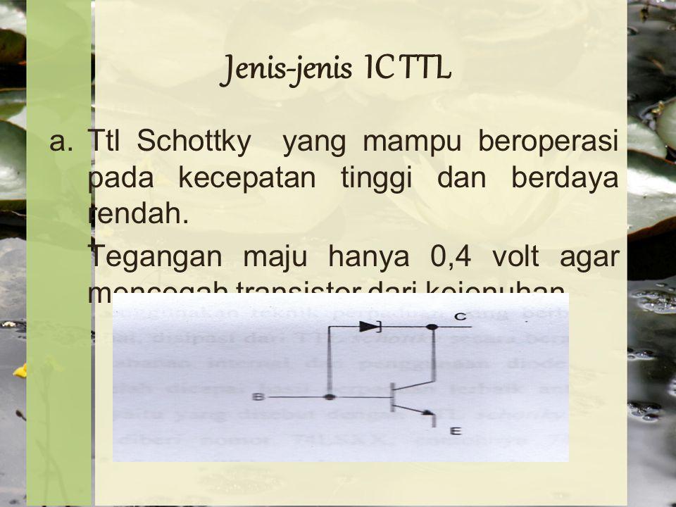 Jenis-jenis IC TTL Ttl Schottky yang mampu beroperasi pada kecepatan tinggi dan berdaya rendah.