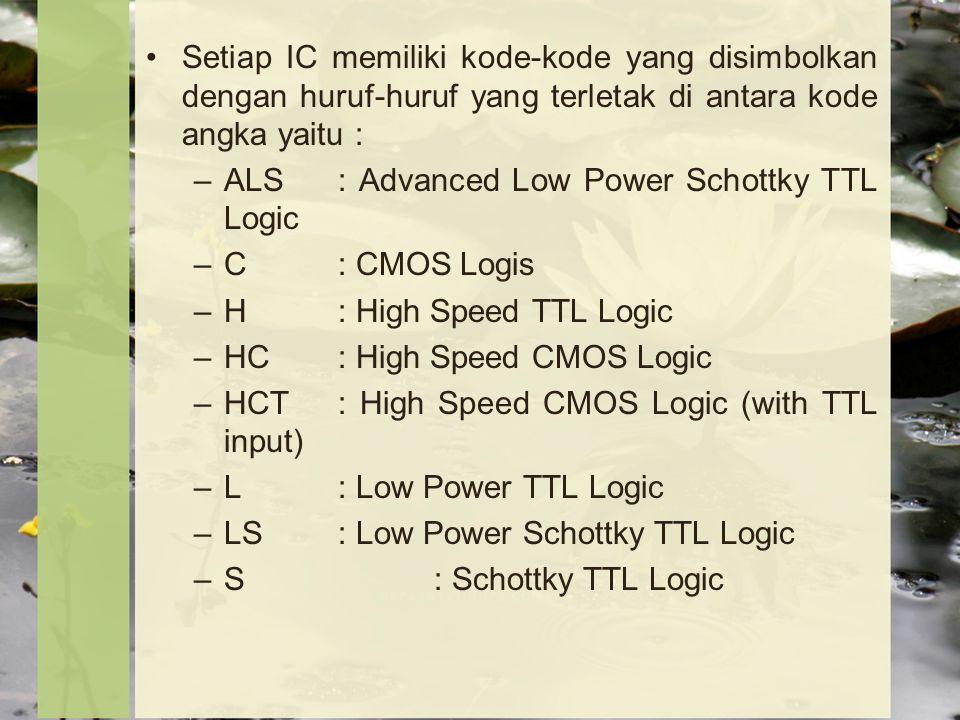 Setiap IC memiliki kode-kode yang disimbolkan dengan huruf-huruf yang terletak di antara kode angka yaitu :