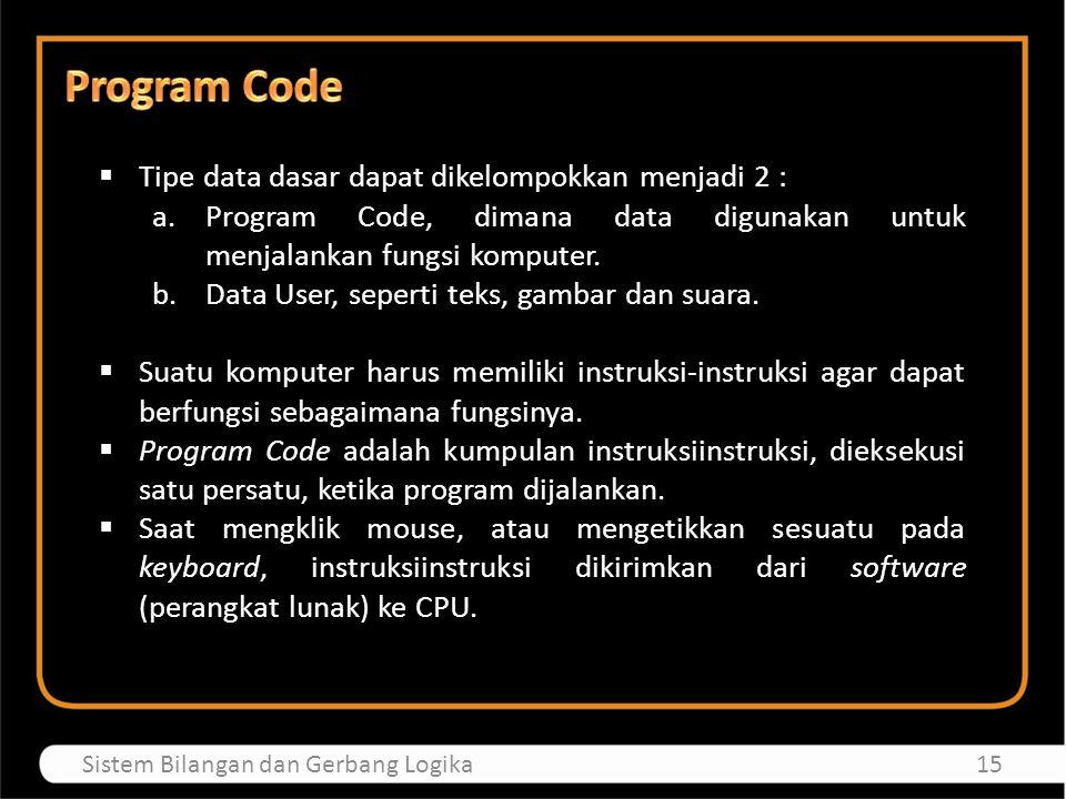 Program Code Tipe data dasar dapat dikelompokkan menjadi 2 :