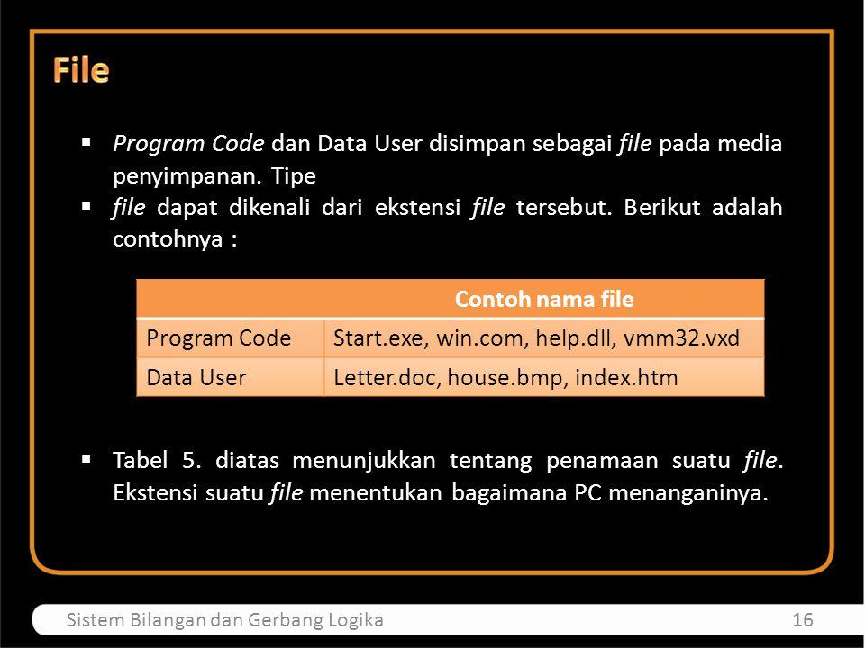 File Program Code dan Data User disimpan sebagai file pada media penyimpanan. Tipe.