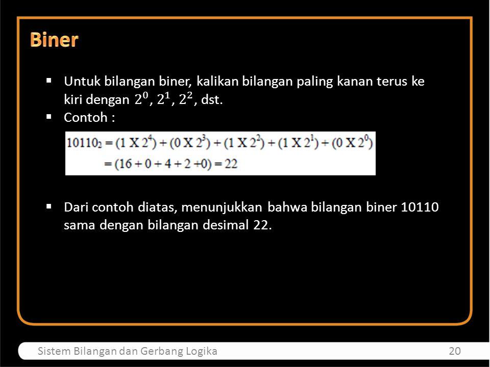 Biner Untuk bilangan biner, kalikan bilangan paling kanan terus ke kiri dengan 2 0 , 2 1 , 2 2 , dst.