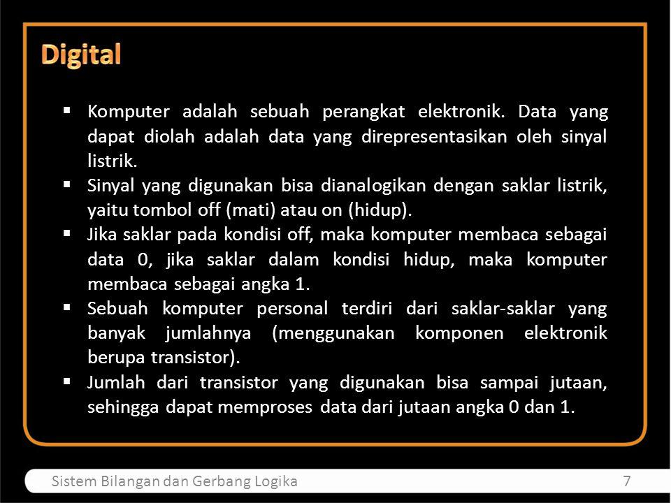 Digital Komputer adalah sebuah perangkat elektronik. Data yang dapat diolah adalah data yang direpresentasikan oleh sinyal listrik.