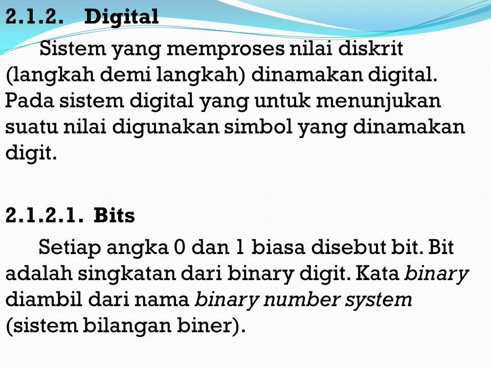 2.1.2. Digital Sistem yang memproses nilai diskrit (langkah demi langkah) dinamakan digital.
